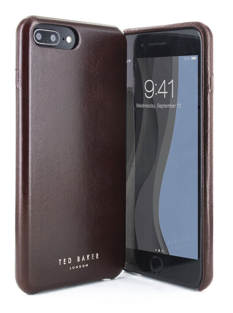 Front and back image of the Ted Baker Apple iPhone 8 Plus / 7 Plus phone case in Dark Brown