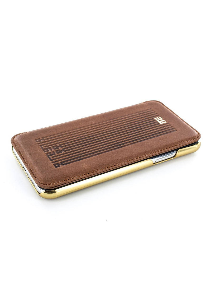 Face up image of the Greenwich Apple iPhone XS / X phone case in Brown