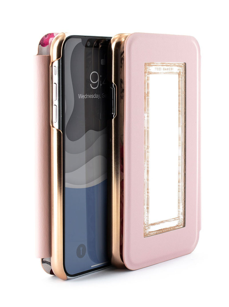 Flip-back front and back image of the Ted Baker Apple iPhone XS Max phone case in Babylon Nickel