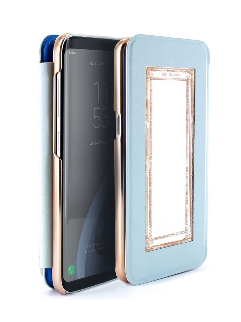 Flip-back front and back image of the Ted Baker Samsung Galaxy S8 phone case in Blue