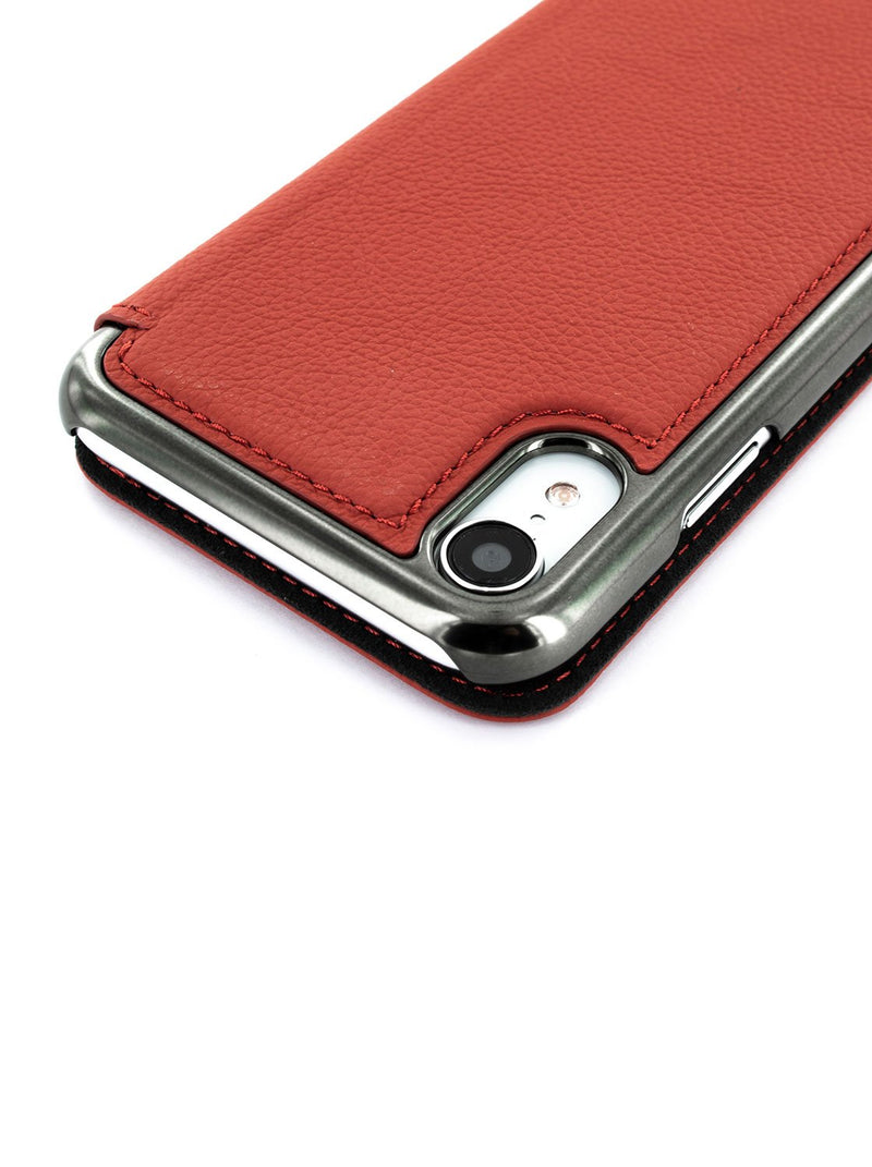 Detail image of the Greenwich Apple iPhone XR phone case in Scarlet Red