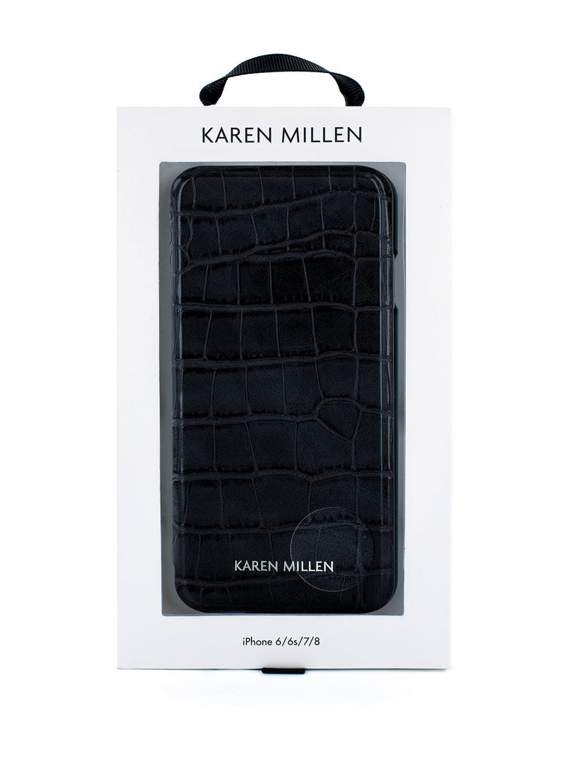 Packaging image of the Karen Millen Apple iPhone 8 / 7 / 6S phone case in Black