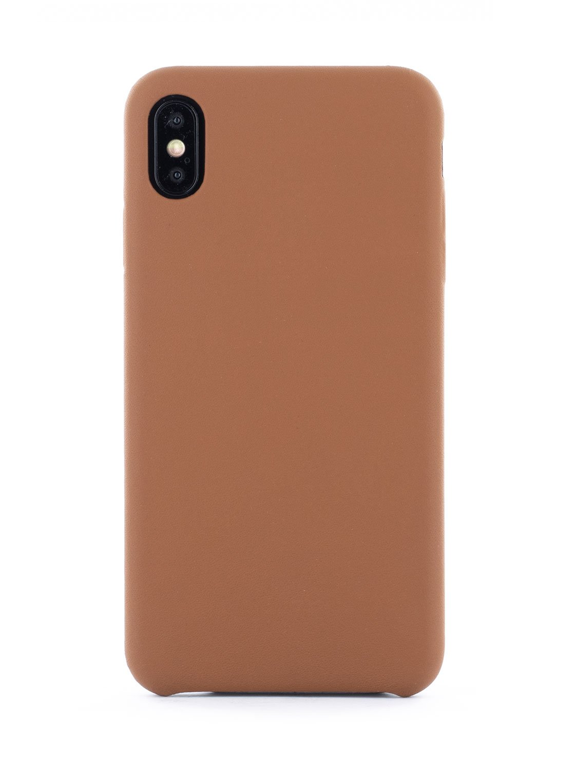 AEON Luxury Leather Wrapped Back Shell for iPhone XS Max - Saddle (Brown)