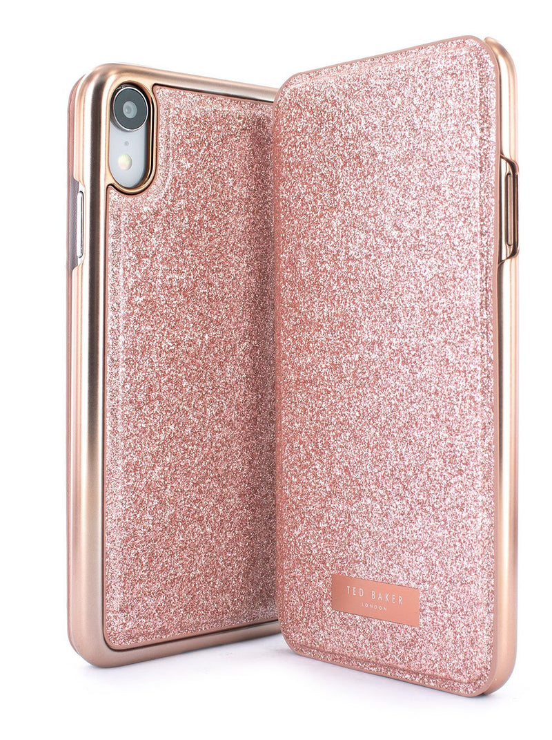 Front and back image of the Ted Baker Apple iPhone XR phone case in Rose Gold