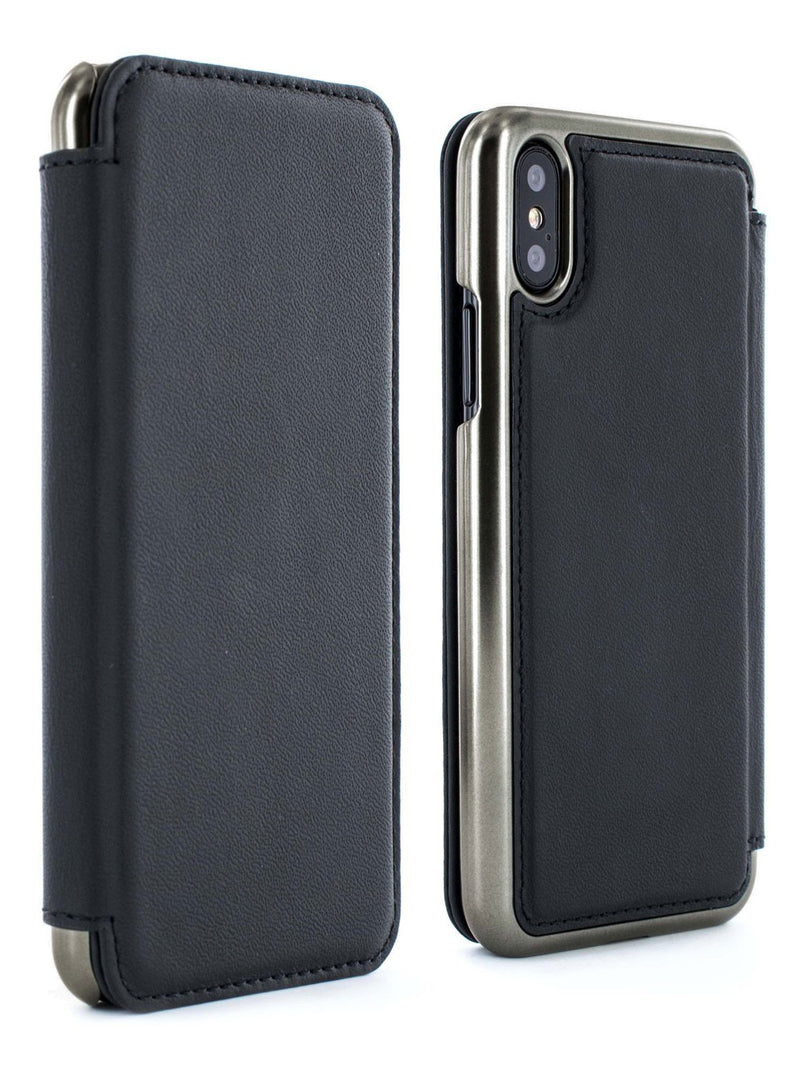 Front and back image of the Greenwich Apple iPhone XS / X phone case in Beluga Black