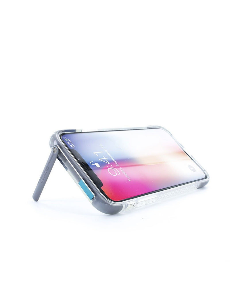 Kickstand feature image of the Proporta Apple iPhone XS / X phone case in Transparent