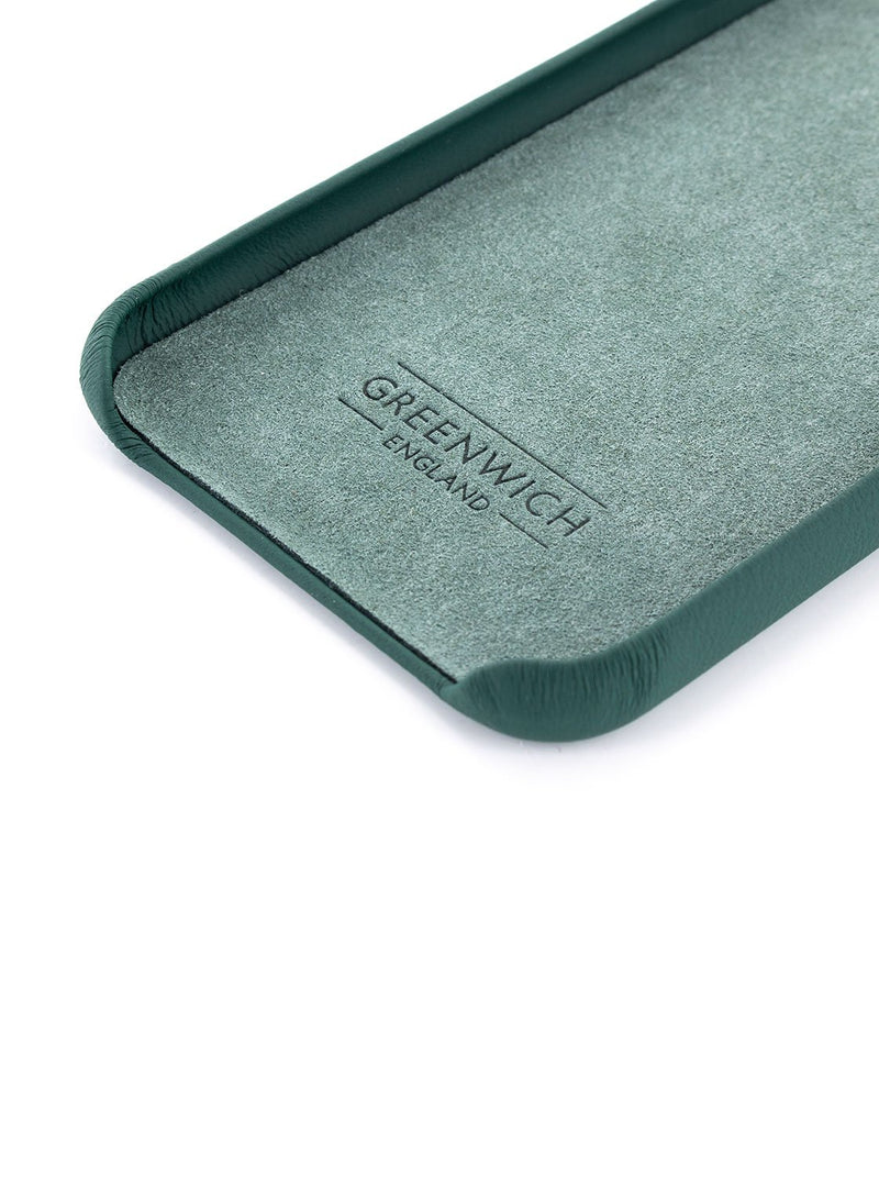 Inside detail image of the Greenwich Apple iPhone XS Max phone case in Emerald Green