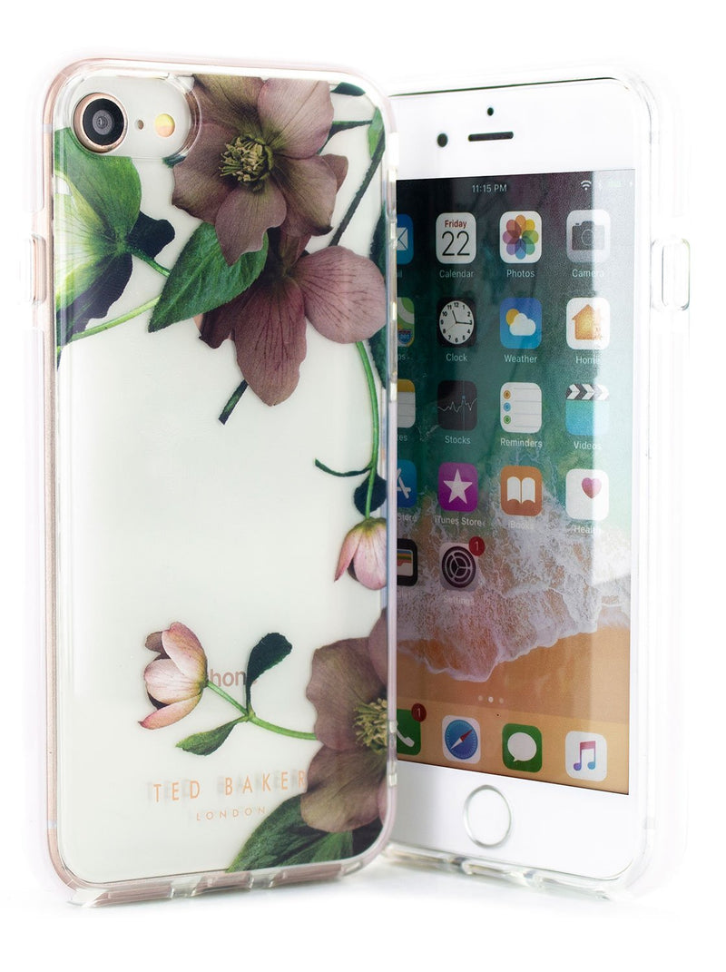 Front and back image of the Ted Baker Apple iPhone 8 / 7 / 6S phone case in Clear Print