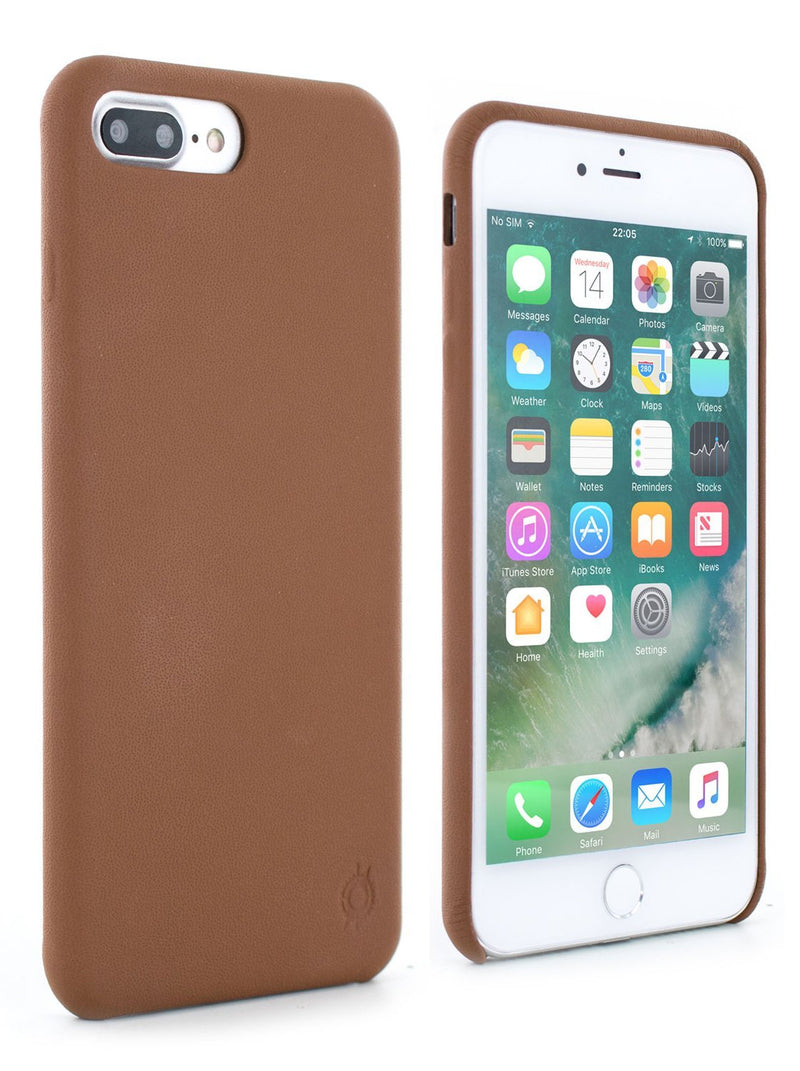 Front and back image of the Greenwich Apple iPhone 8 Plus / 7 Plus phone case in Saddle Brown