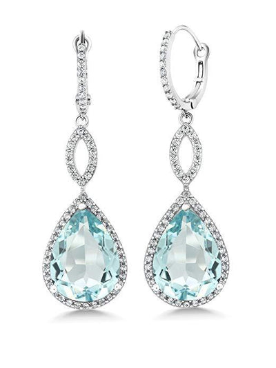 Blue Topaz Pave Teardrop Infinity Drop Earrings Embellished with Swarovski Crystals in 18K White Gold Plated