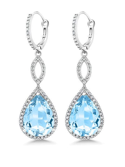 Pear Cut Gemstone Infinity Drop Earrings Made with Swarovski Elements