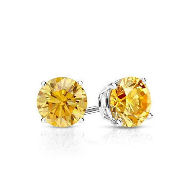 Yellow Stone Embellished with Swarovski Crystals 7mm Stud Earringin 18K White Gold Plated