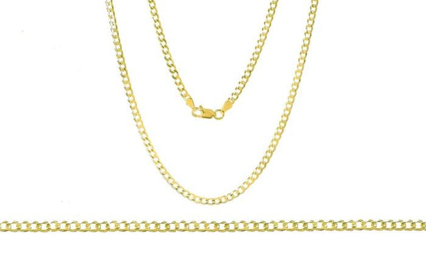 Unisex Solid Italian Curb Chain in 14K Gold Plating