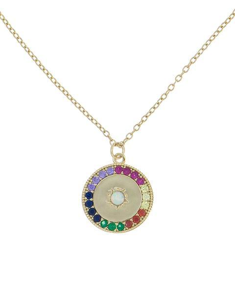 Rainbow Swarovski Elements Ayin Hara Protection Circular Pendant Necklace in 14K Gold