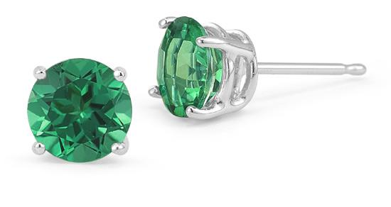 Green Swarovski Crystal 6mm Stud Earring 14K White Gold Plated - 1.00 CT
