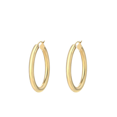 "Classic 1"" Round Hoop Drop Earring in 18K Gold Plated"