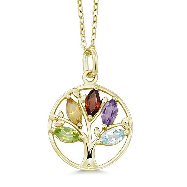 Motherly Rainbow Tree Of Life Necklace in 18K Gold Plated