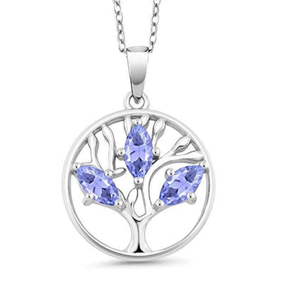 Motherly Amethyst Cut Tree Of Life Necklace in 18K White Gold Plated