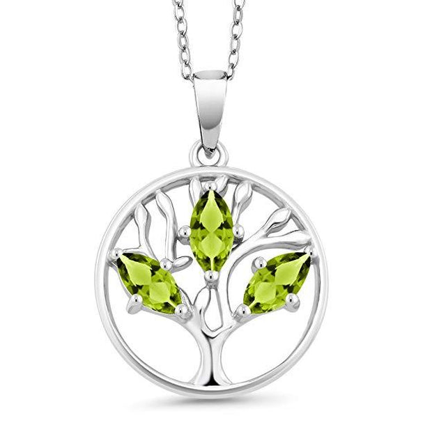 Motherly Peridot Cut Tree Of Life Necklace in 18K White Gold Plated
