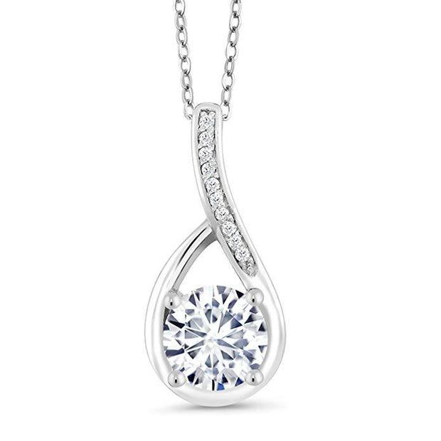 Classic Teardrop Pave Necklace Embellished with Swarovski Elements in 18K White Gold Plated