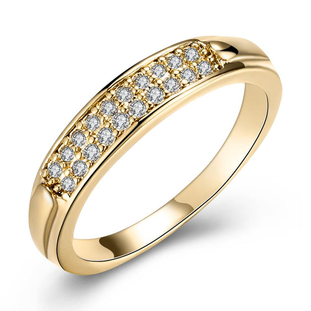 Swarovski Elements Curb Pav'e Engagement Ring In 14K Gold