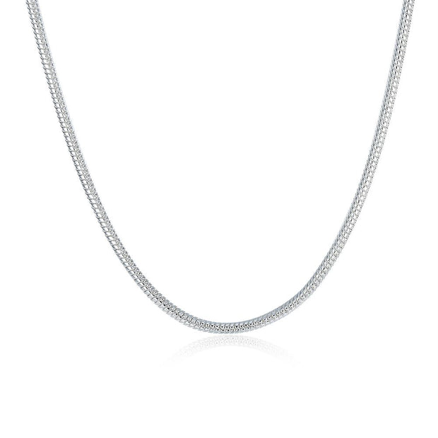 White Gold Plated  Thick Cut Chain Necklace