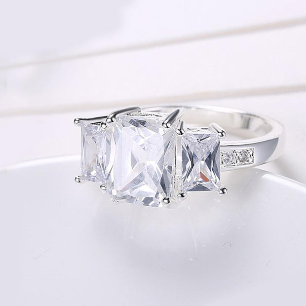 White Sapphire Cocktail Promise Ring