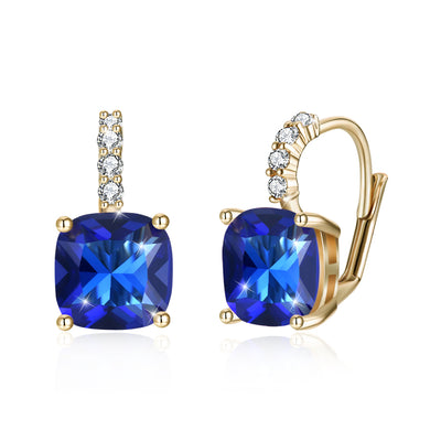 Swarovski Crystals 2.00 Ct Sapphire Leverback Princess Cut Drop Earring