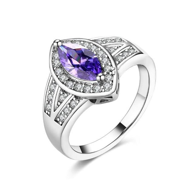 Tanzanite Diamond Cut Micro Pav'e White Gold Ring