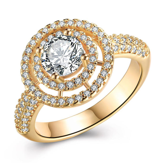 Circular Floral Micro-Pav'e Swarovski Elements Cocktail Engagement Ring in Gold