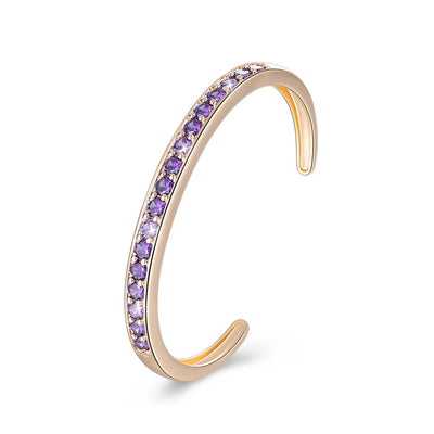 Pav'ed Iced Out Gold Bracelet - Purple