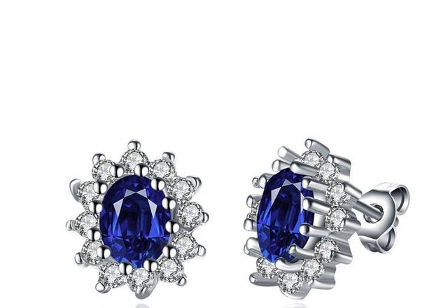 Sapphire Stud Earrings Set in 18K White Gold Plated