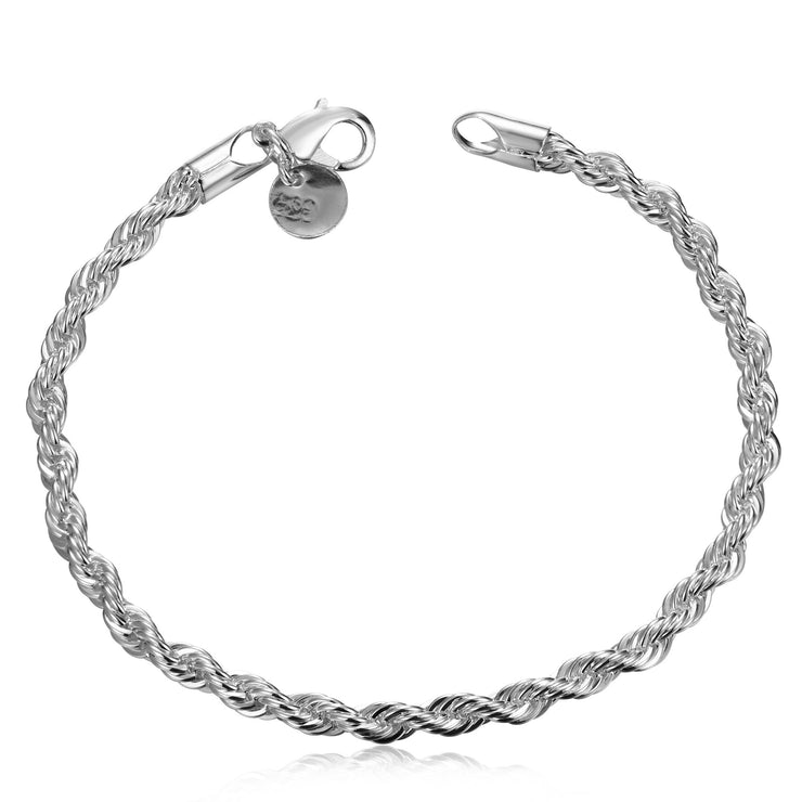 Silver Twisted Rope Bracelet