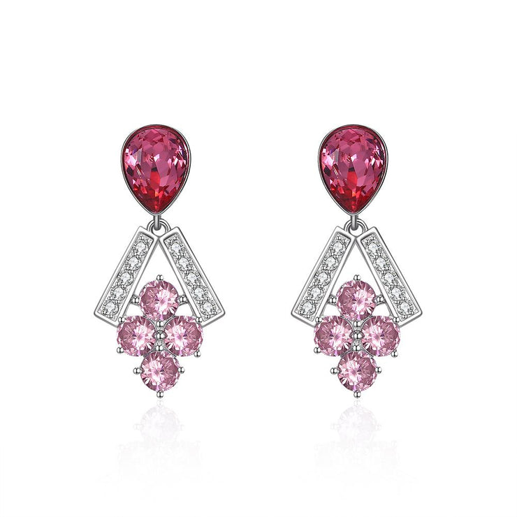 Sterling Silver Multi Swarovski Chandelier Drop Earrings - Red