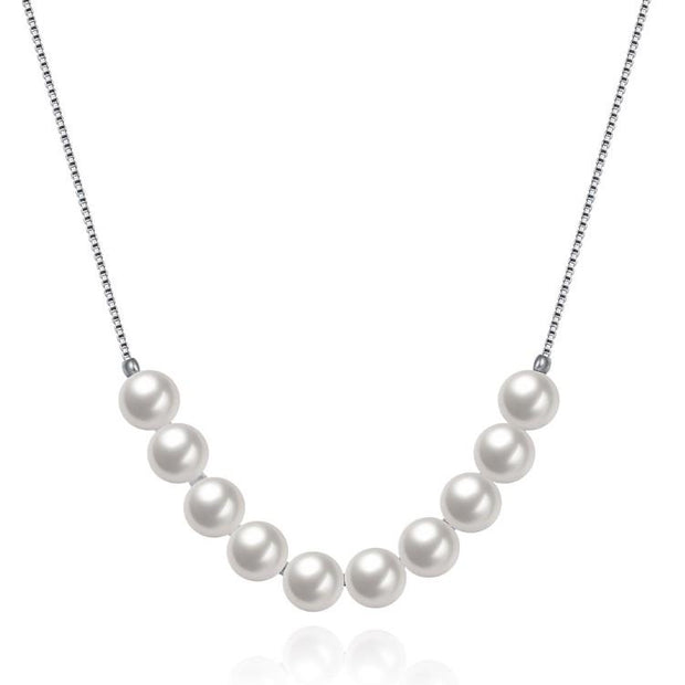 Classic Dangling Sterling Silver Pearl Necklace