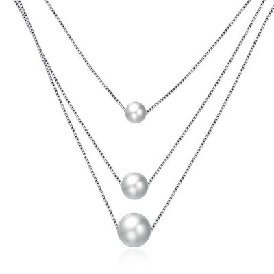 Triple Layering Sterling Silver Pearl Necklace
