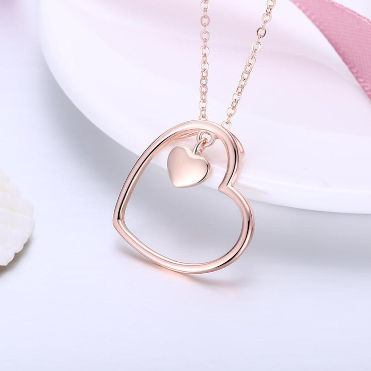 Rose Gold over Sterling Silver Heart Necklace