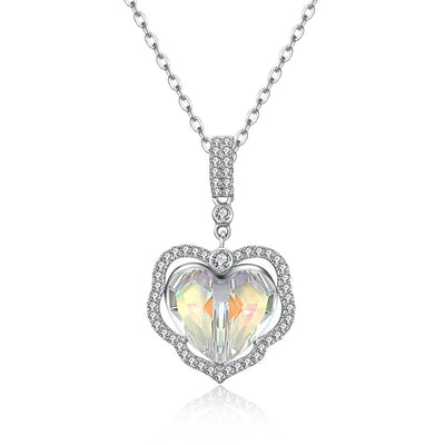 Aurora Borealis Stone Sterling Silver Swarovski Crystal Enchanting Heart Necklace