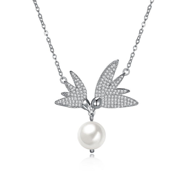 Pave  Swarovski Crystals Sterling Silver Flying Wings Pearl Necklace