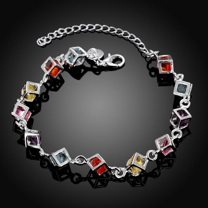 Rainbow Rubix Cube Swarovski Elements White Gold Bracelet in 18K