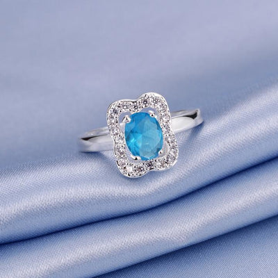 Blue Topaz Emerald Cut Pav'e Promise Ring