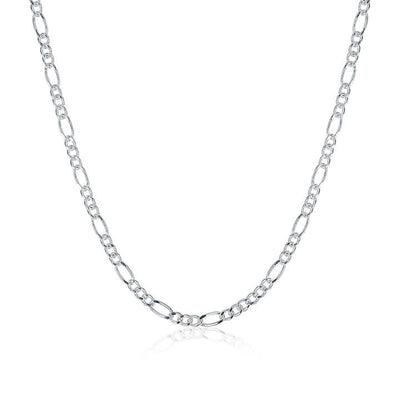 White Gold Plated  Cuban Figaro Chain Necklace