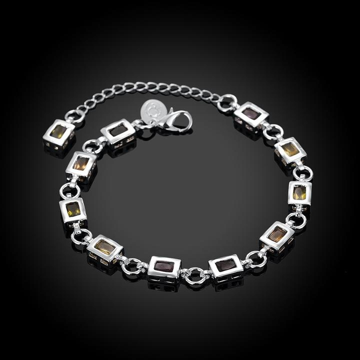 Rainbow Swarovski Square Cut  White Gold Bracelet in 18K