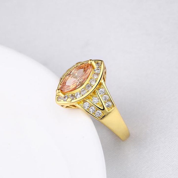 Citrine Diamond Cut Micro-Pav'e Gold Ring