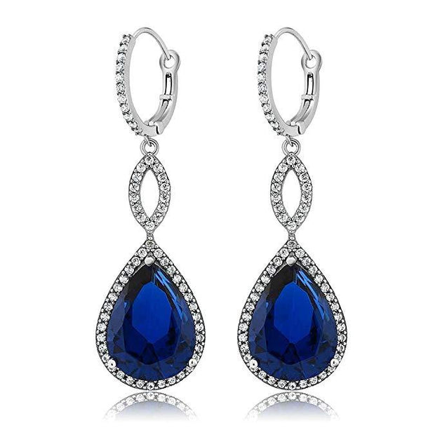 Sapphire Pave Teardrop Infinity Drop Earrings Embellished with Swarovski Crystals in 18K White Gold Plated