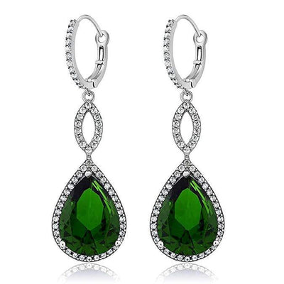 Emerald Pave Teardrop Infinity Drop Earrings Embellished with Swarovski Crystals in 18K White Gold Plated