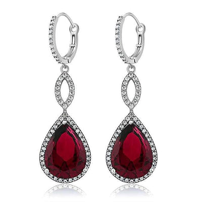 Ruby Pave Teardrop Infinity Drop Earrings Embellished with Swarovski Crystals in 18K White Gold Plated