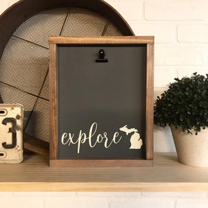 Explore Michigan Picture Clip Framed Sign