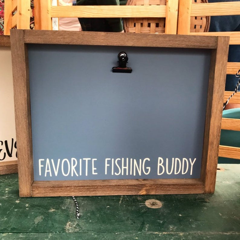 Favorite Fishing Golfing Hunting Buddy Picture Clip Framed Sign