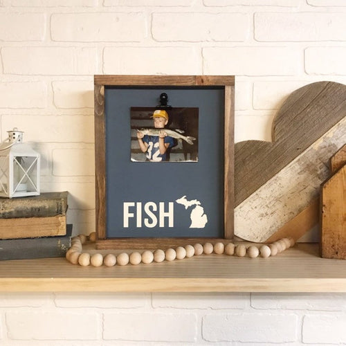 Fish Michigan Picture Clip Framed Sign